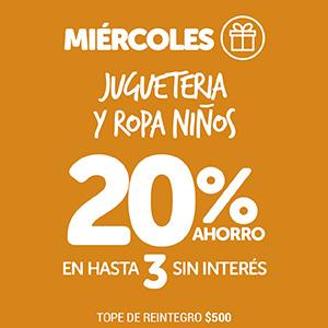 Miércoles 20% Jugueteria y Ropa Niños